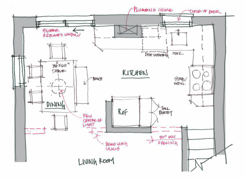 ... DOOR TO THE LEFT WALL OF THE DINING ROOM AND CREATED AN OPENING INTO  THE KITCHEN FROM THE LIVING ROOM: This Change Improves Immensely The  Traffic Flow ...